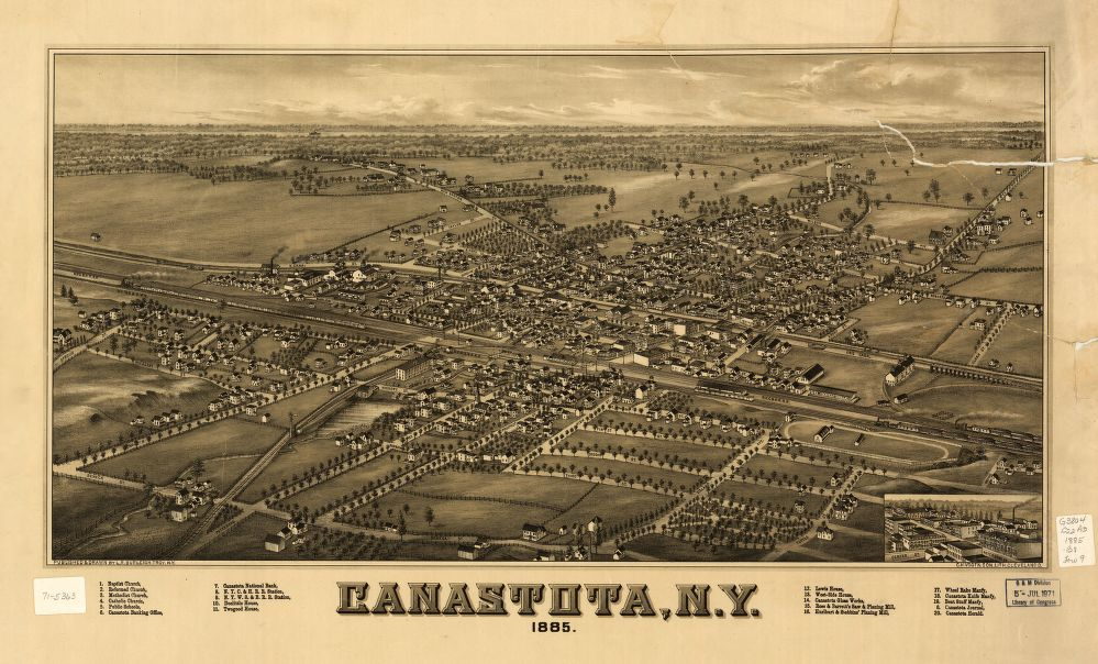 8 x 12 Reproduced Photo of Vintage Old Perspective Birds Eye View Map or Drawing of: Canastota, N.Y. 1885.  Burleigh, L. R. (Lucien R.) - C.H. Vogt & Son - Burleigh, L. R.  1885