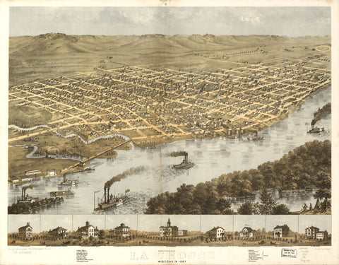 8 x 12 Reproduced Photo of Vintage Old Perspective Birds Eye View Map or Drawing of: La Crosse, Wisconsin 1867. Ruger, A. 1867