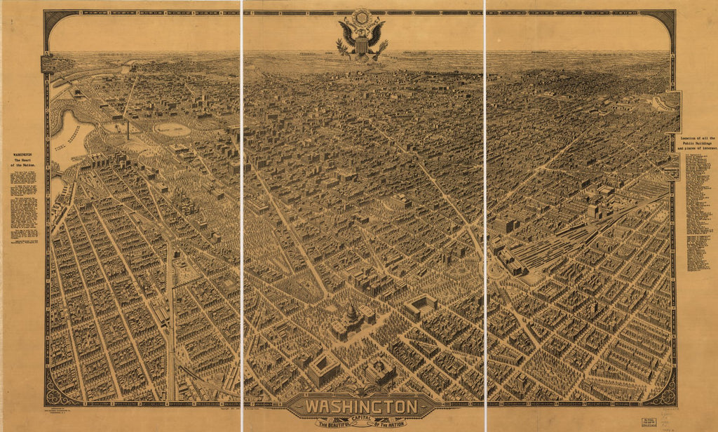 8 x 12 Reproduced Photo of Vintage Old Perspective Birds Eye View Map or Drawing of: Washington, the beautiful capital of the nation. Olsen, William. 1922
