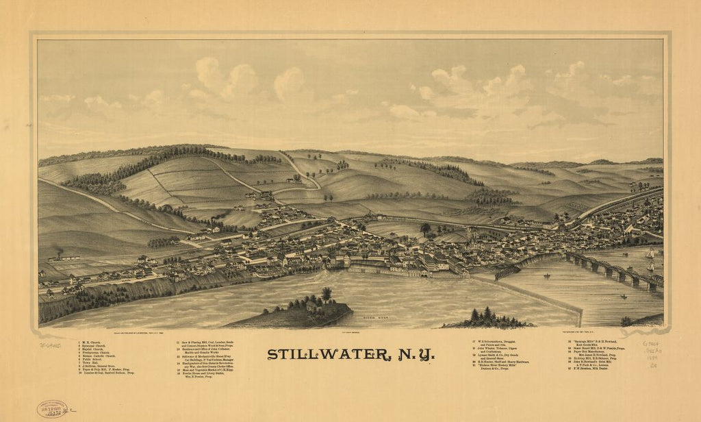 8 x 12 Reproduced Photo of Vintage Old Perspective Birds Eye View Map or Drawing of: Stillwater, N.Y. Burleigh, L. R. (Lucien R.) - Burleigh Litho - Burleigh, L. R. 1889