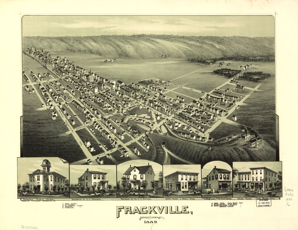 8 x 12 Reproduced Photo of Vintage Old Perspective Birds Eye View Map or Drawing of: Frackville, Pennsylvania. Fowler, T. M. - Fowler, T. M. 1889