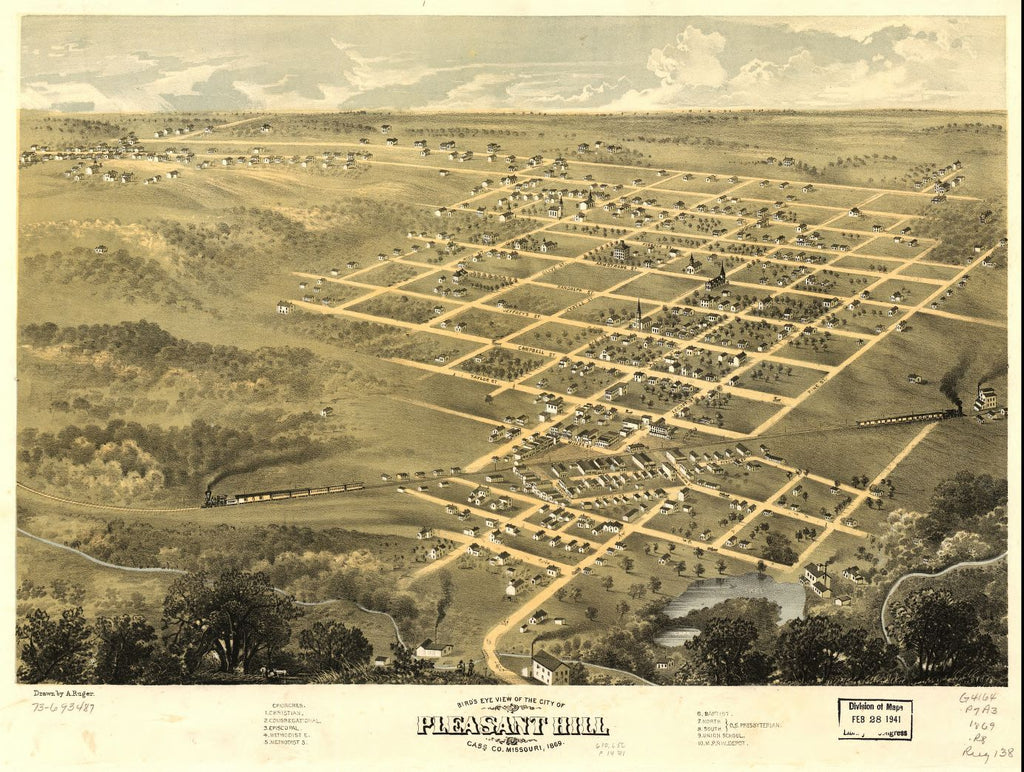 8 x 12 Reproduced Photo of Vintage Old Perspective Birds Eye View Map or Drawing of: Pleasant Hill, Cass Co., Missouri 1869. Ruger, A. 1869