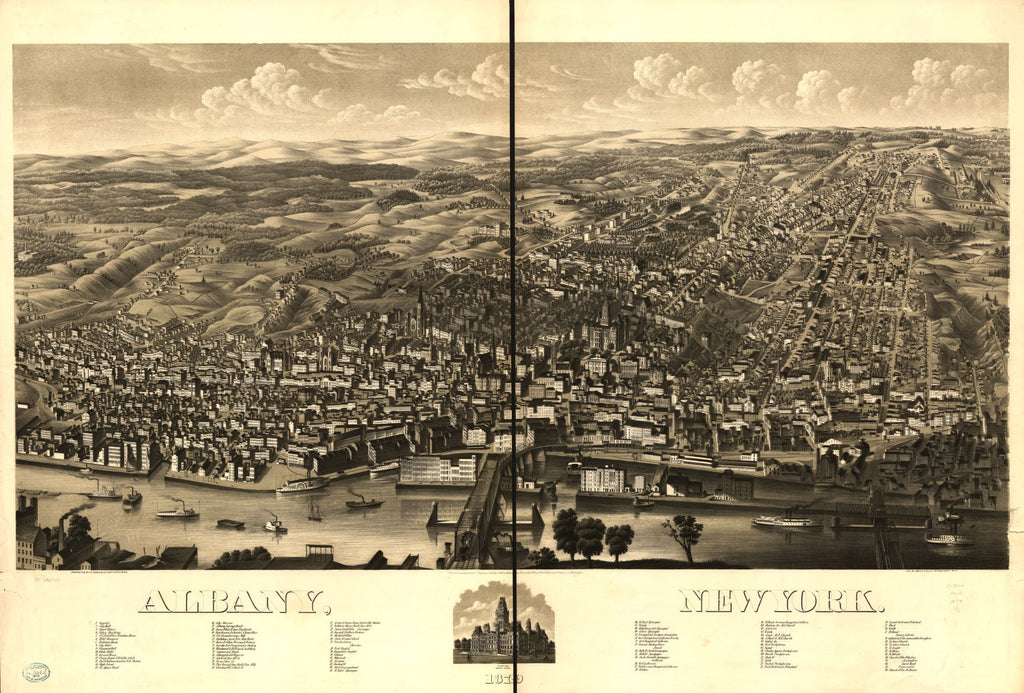 8 x 12 Reproduced Photo of Vintage Old Perspective Birds Eye View Map or Drawing of: Albany, New York 1879.   H.H. Rowley & Co. - Beck & Pauli  1879