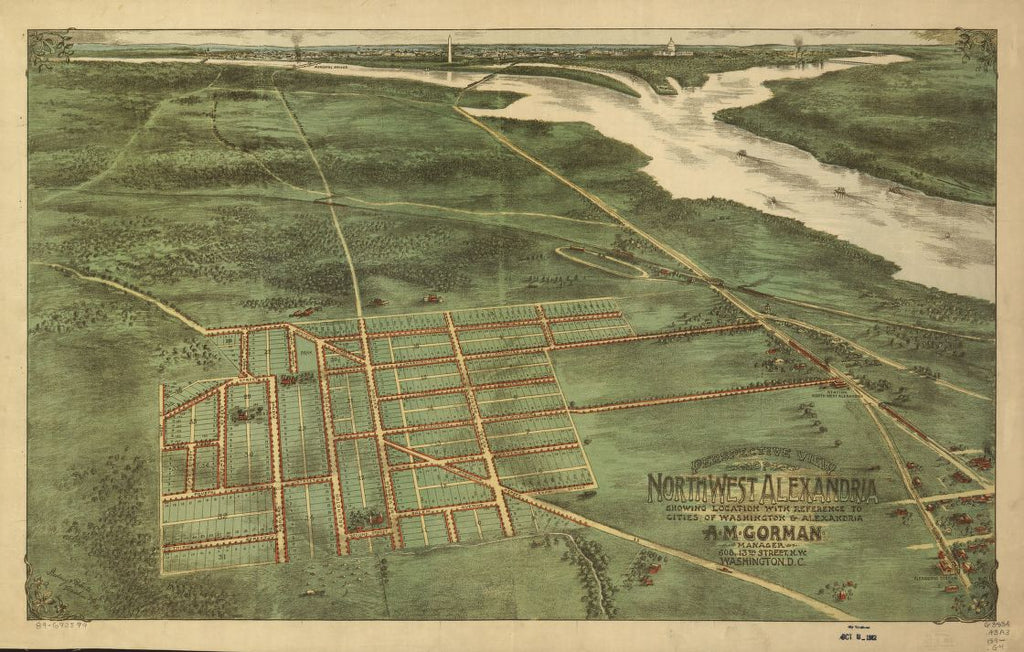 8 x 12 Reproduced Photo of Vintage Old Perspective Birds Eye View Map or Drawing of: Perspective northwest Alexandria : showing location with reference to cities of Washington & Alexandria Gedney & Roberts. 189-