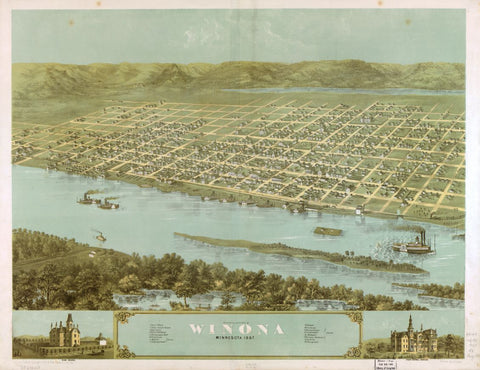 8 x 12 Reproduced Photo of Vintage Old Perspective Birds Eye View Map or Drawing of: Winona, Minnesota 1867. Ruger, A. 1867