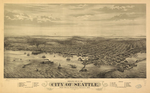 8 x 12 Reproduced Photo of Vintage Old Perspective Birds Eye View Map or Drawing of: Seattle, Puget Sound, Washington Territory, 1878. Glover, E. S. (Eli Sheldon), 1844-1920. 1878