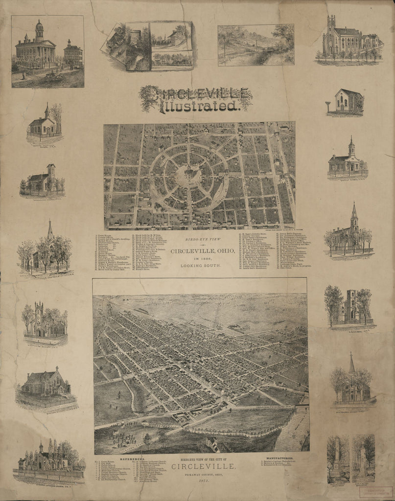 8 x 12 Reproduced Photo of Vintage Old Perspective Birds Eye View Map or Drawing of: Circleville, Pickaway County, Ohio 1876. Ruger, A. 1876