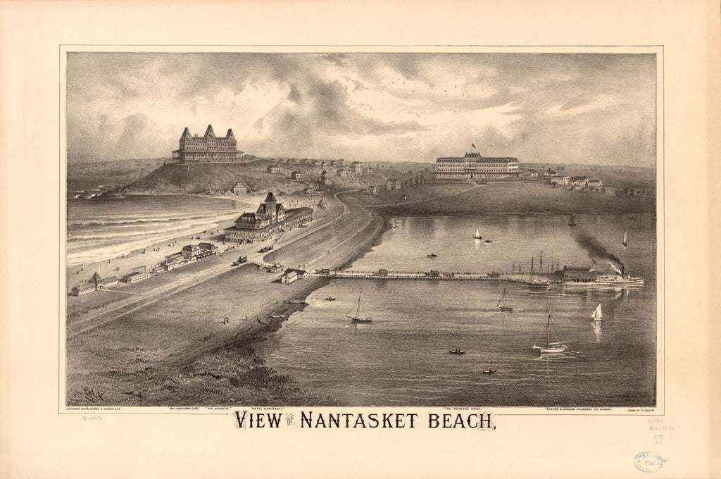 8 x 12 Reproduced Photo of Vintage Old Perspective Birds Eye View Map or Drawing of: Nantasket Beach.  Mallory, Richard P. - Geo. H. Walker & Co.  1879