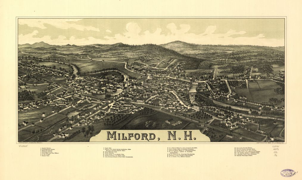 8 x 12 Reproduced Photo of Vintage Old Perspective Birds Eye View Map or Drawing of: Milford, N.H.  Burleigh, L. R. (Lucien R.) - C.H. Vogt (Firm) - Burleigh, L. R.  1886
