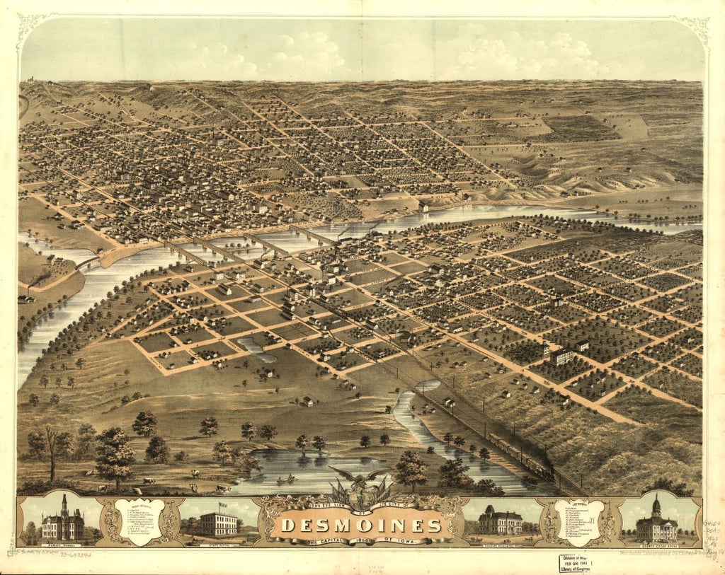 8 x 12 Reproduced Photo of Vintage Old Perspective Birds Eye View Map or Drawing of: Des Moines, the capital of Iowa 1868. Ruger, A. 1868