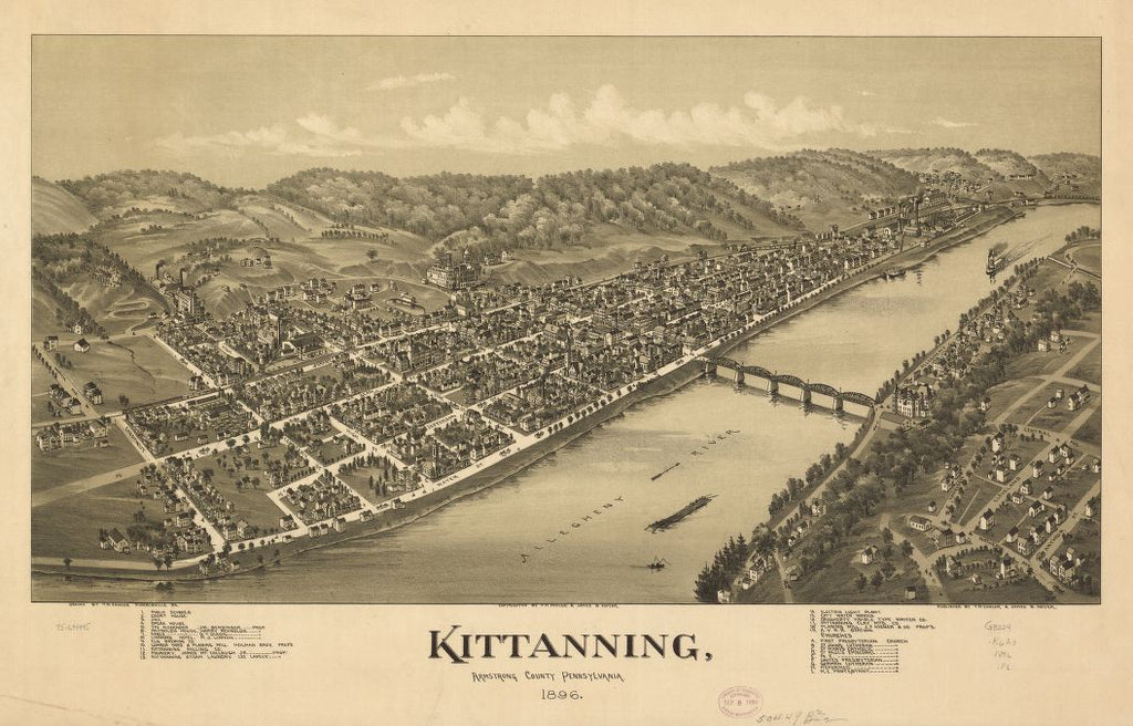8 x 12 Reproduced Photo of Vintage Old Perspective Birds Eye View Map or Drawing of: Kittanning, Armstrong County, Pennsylvania 1896. Fowler, T. M. - Moyer, James - Fowler, T. M. 1896