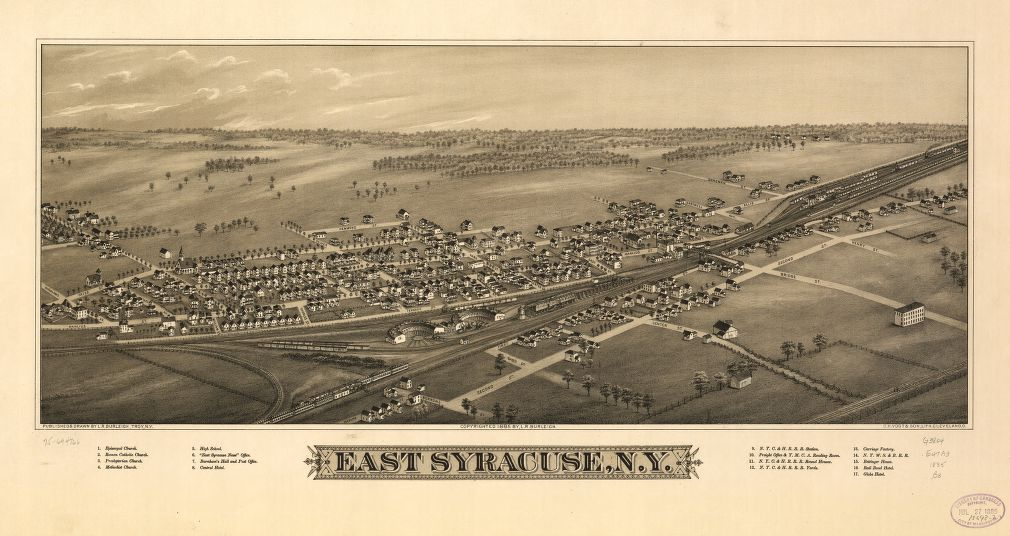 8 x 12 Reproduced Photo of Vintage Old Perspective Birds Eye View Map or Drawing of: East Syracuse, N.Y.  Burleigh, L. R. (Lucien R.) - C.H. Vogt & Son - Burleigh, L. R. 1885