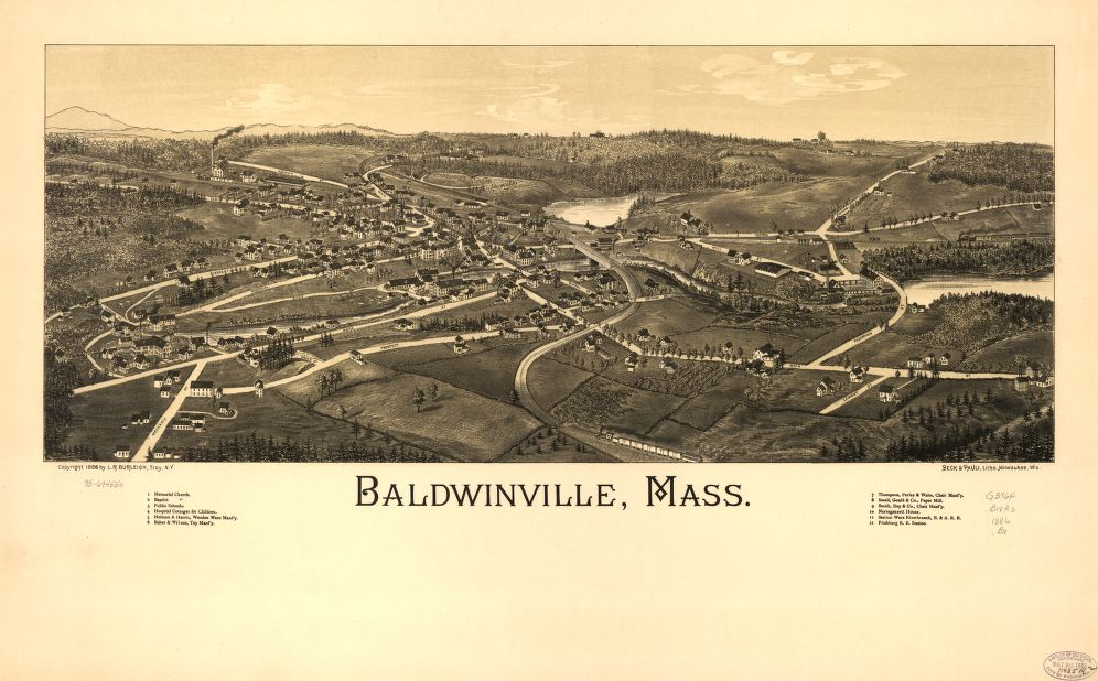 8 x 12 Reproduced Photo of Vintage Old Perspective Birds Eye View Map or Drawing of: Baldwinville, Mass.  Burleigh, L. R. (Lucien R.) - Beck & Pauli - Burleigh, L. R 1886
