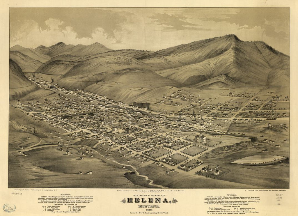 8 x 12 Reproduced Photo of Vintage Old Perspective Birds Eye View Map or Drawing of: Helena, Montana 1875. Glover, E. S. (Eli Sheldon), 1844-1920. 1875
