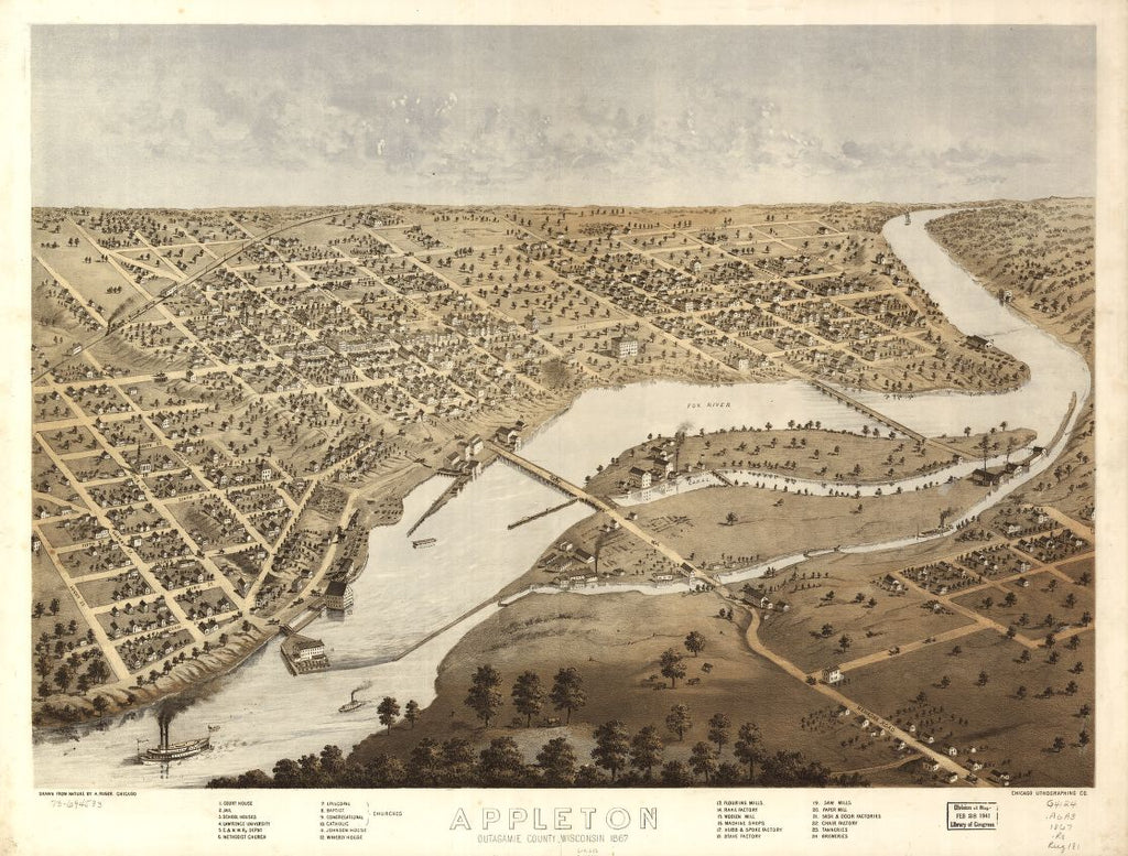 8 x 12 Reproduced Photo of Vintage Old Perspective Birds Eye View Map or Drawing of: Appleton, Outagamie County, Wisconsin 1867. Ruger, A. 1867