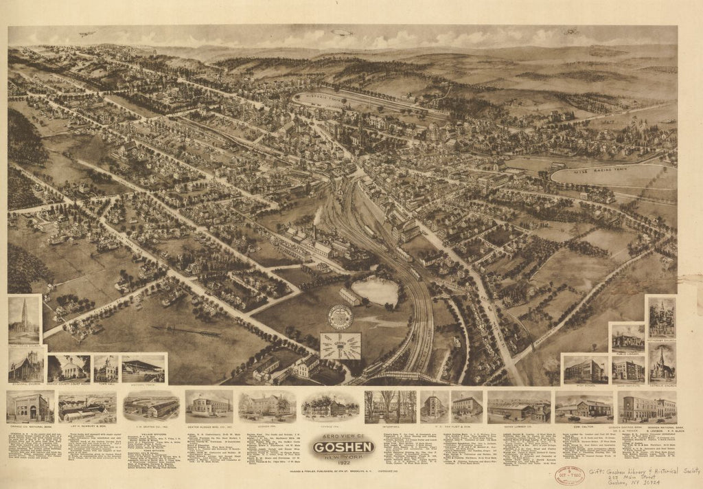 8 x 12 Reproduced Photo of Vintage Old Perspective Birds Eye View Map or Drawing of: Goshen, New York : 1922. Hughes & Fowler 1922
