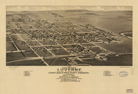 8 x 12 Reproduced Photo of Vintage Old Perspective Birds Eye View Map or Drawing of: 1883 Luverne. County seat of Rock County, Minnesota. Brosius, H. 1883