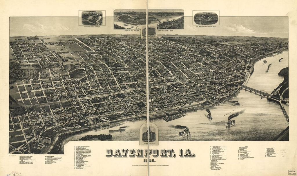 8 x 12 Reproduced Photo of Vintage Old Perspective Birds Eye View Map or Drawing of: Davenport, Ia. 1888. Wellge, H. (Henry) 1888