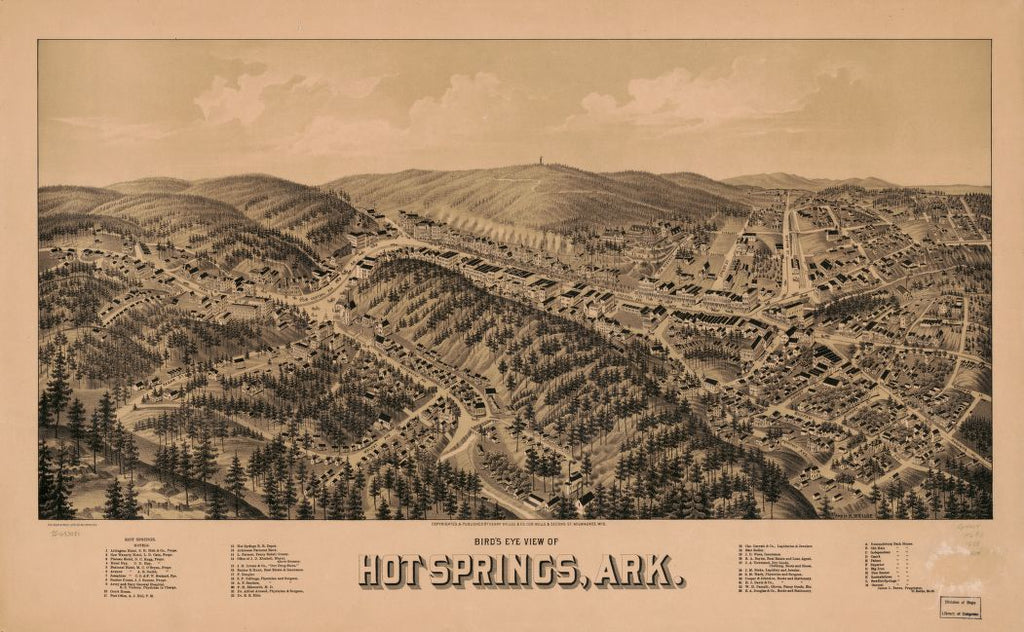 8 x 12 Reproduced Photo of Vintage Old Perspective Birds Eye View Map or Drawing of: Hot Springs, Ark. Wellge, H. (Henry)Beck & Pauli.Henry Wellge & Co. 1888?