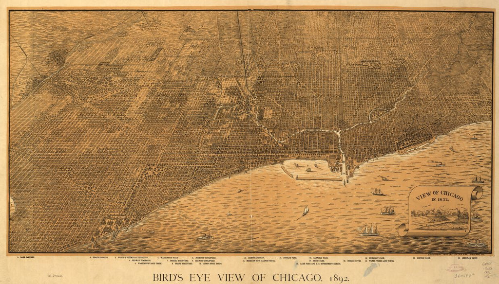 8 x 12 Reproduced Photo of Vintage Old Perspective Birds Eye View Map or Drawing of: Chicago, 1892. Roy, Peter. c1892