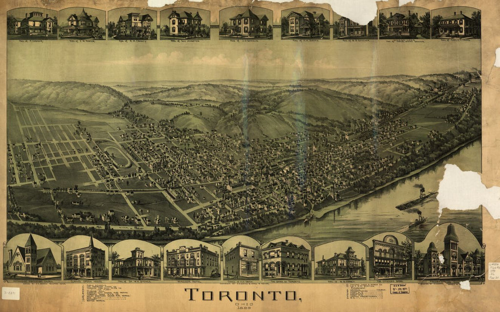 8 x 12 Reproduced Photo of Vintage Old Perspective Birds Eye View Map or Drawing of: Toronto, Ohio 1899. Downs, A. E. (Albert E.) 1899