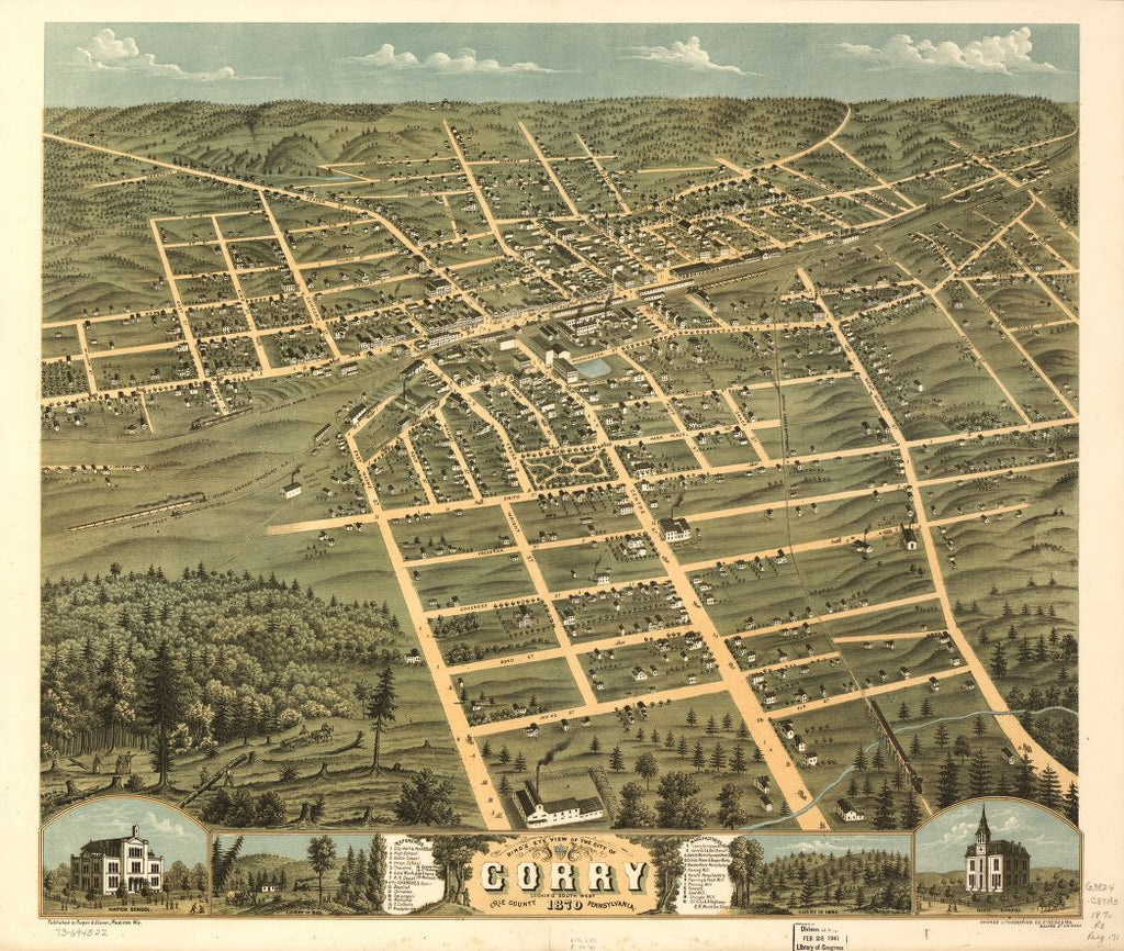 8 x 12 Reproduced Photo of Vintage Old Perspective Birds Eye View Map or Drawing of: Corry, Erie County, Pennsylvania 1870. Ruger, A. - Chicago Lithographing Co. - Ruger & Stoner 1870