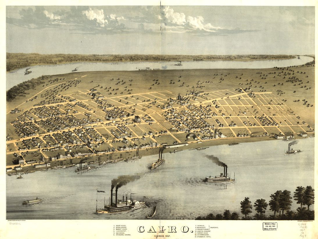8 x 12 Reproduced Photo of Vintage Old Perspective Birds Eye View Map or Drawing of: Cairo, Il[linois] 1867. Ruger, A. 1867