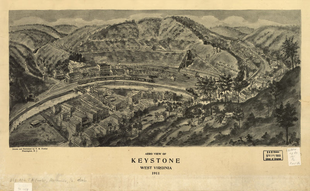 8 x 12 Reproduced Photo of Vintage Old Perspective Birds Eye View Map or Drawing of: Keystone, West Virginia 1911. Fowler, T. M. (Thaddeus Mortimer), 1911