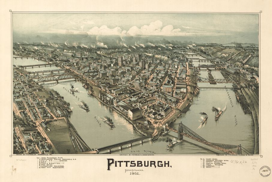 8 x 12 Reproduced Photo of Vintage Old Perspective Birds Eye View Map or Drawing of: Pittsburgh, Pennsylvania 1902. Fowler, T. M. - Moyer, James - Fowler, T. M. 1902