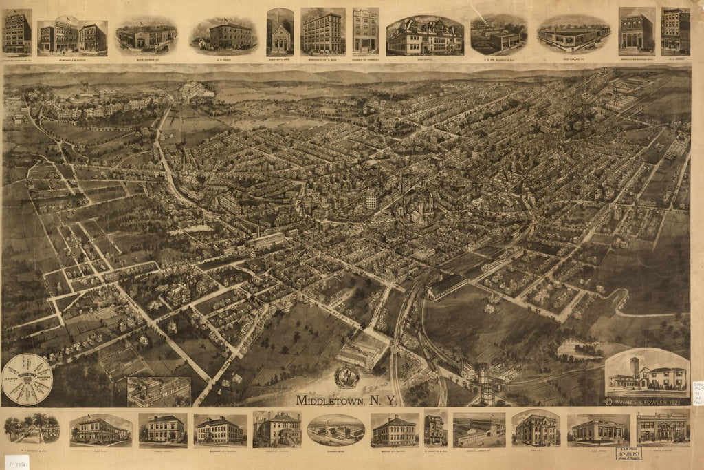 8 x 12 Reproduced Photo of Vintage Old Perspective Birds Eye View Map or Drawing of: Middletown, N.Y. Hughes & Fowler. 1921