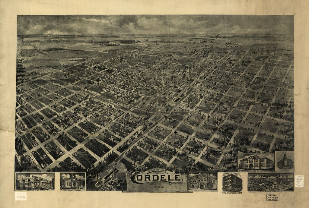 8 x 12 Reproduced Photo of Vintage Old Perspective Birds Eye View Map or Drawing of: view Cordele, Georgia 1908. Downs, A. E. (Albert E.)Fowler, T. M. (Thaddeus Mortimer), 1908