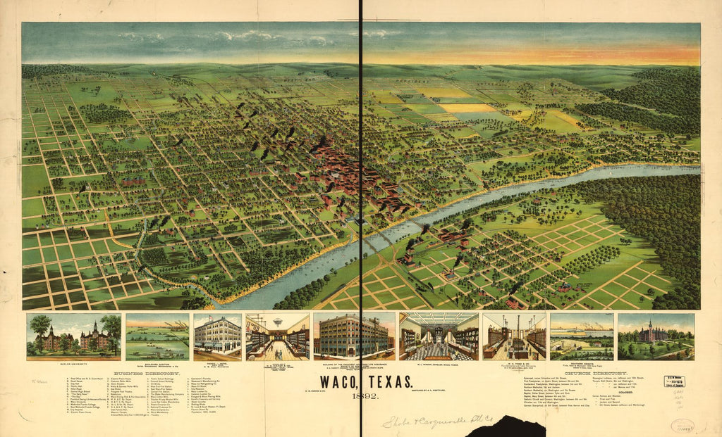 8 x 12 Reproduced Photo of Vintage Old Perspective Birds Eye View Map or Drawing of: Waco, Texas 1892. Westyard, A. L. 1892