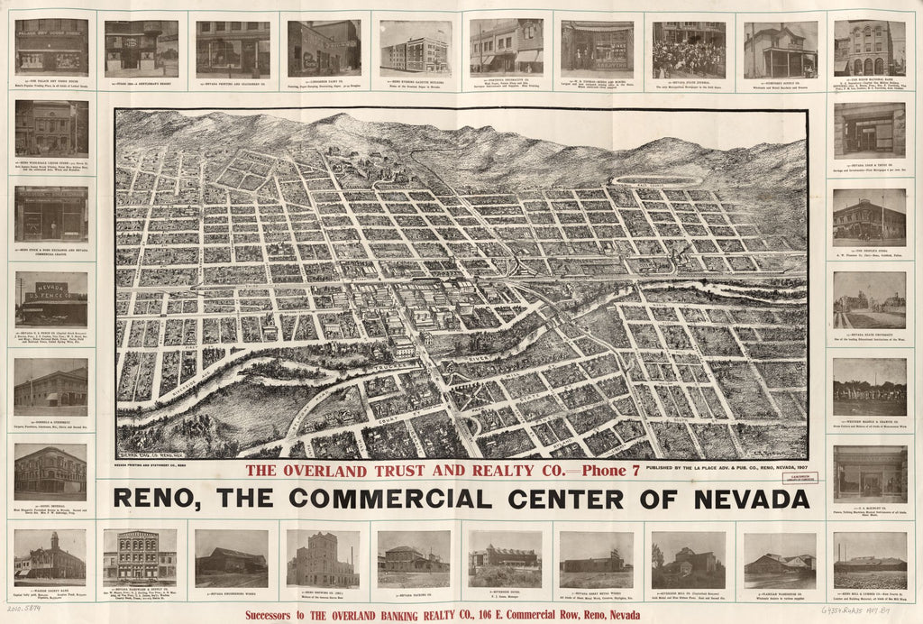 8 x 12 Reproduced Photo of Vintage Old Perspective Birds Eye View Map or Drawing of: Reno, the commercial center of Nevada Brown, Grafton Tyler, 1907