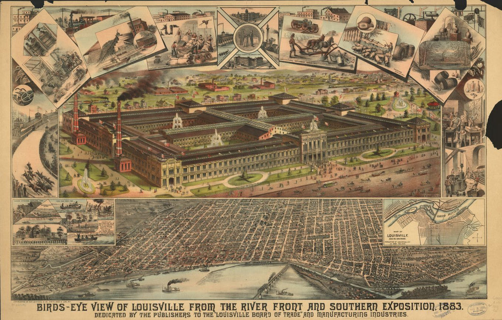 8 x 12 Reproduced Photo of Vintage Old Perspective Birds Eye View Map or Drawing of: Louisville from the river front and Southern Exposition, 1883. Clarke, William F.Levyeau (M.P.) & Co. 1883