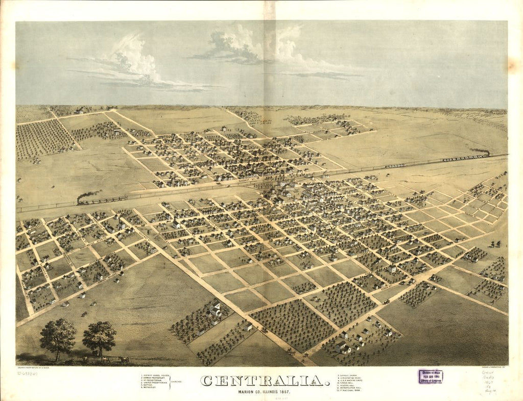 8 x 12 Reproduced Photo of Vintage Old Perspective Birds Eye View Map or Drawing of: Centralia, Marion Co., Illinois 1867. Ruger, A. 1867