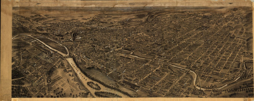 8 x 12 Reproduced Photo of Vintage Old Perspective Birds Eye View Map or Drawing of:  Allentown, Pennsylvania. Fowler, T. M. - Hughes & Fowler - Fowler, T. M. 1922
