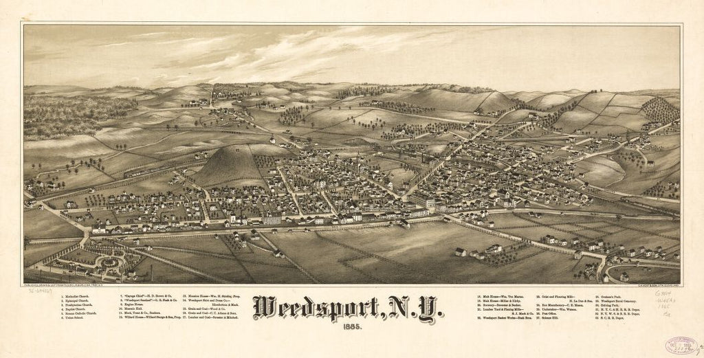 8 x 12 Reproduced Photo of Vintage Old Perspective Birds Eye View Map or Drawing of: Weedsport, N.Y. 1885. Burleigh, L. R. (Lucien R.) - C.H. Vogt & Son - Burleigh, L. R. 1885