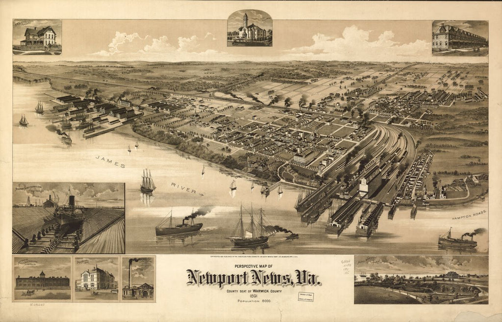 8 x 12 Reproduced Photo of Vintage Old Perspective Birds Eye View Map or Drawing of: Newport News, Va., county seat of Warwick County 1891. American Publishing Co. (Milwaukee, Wis.) 1891