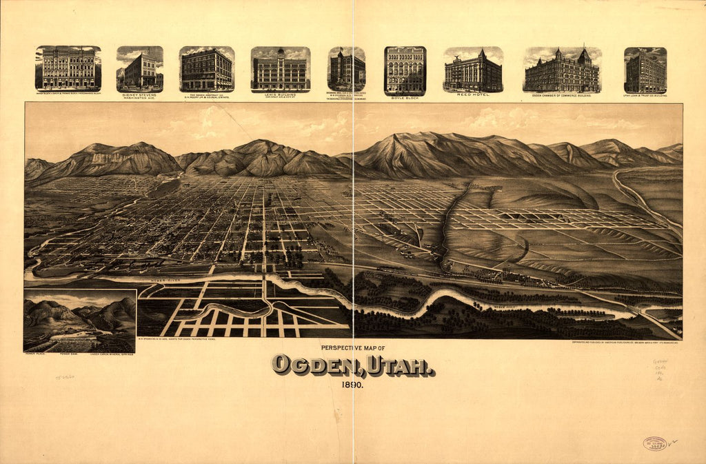 8 x 12 Reproduced Photo of Vintage Old Perspective Birds Eye View Map or Drawing of: Ogden, Utah 1890. American Publishing Co. (Milwaukee, Wis.) 1890