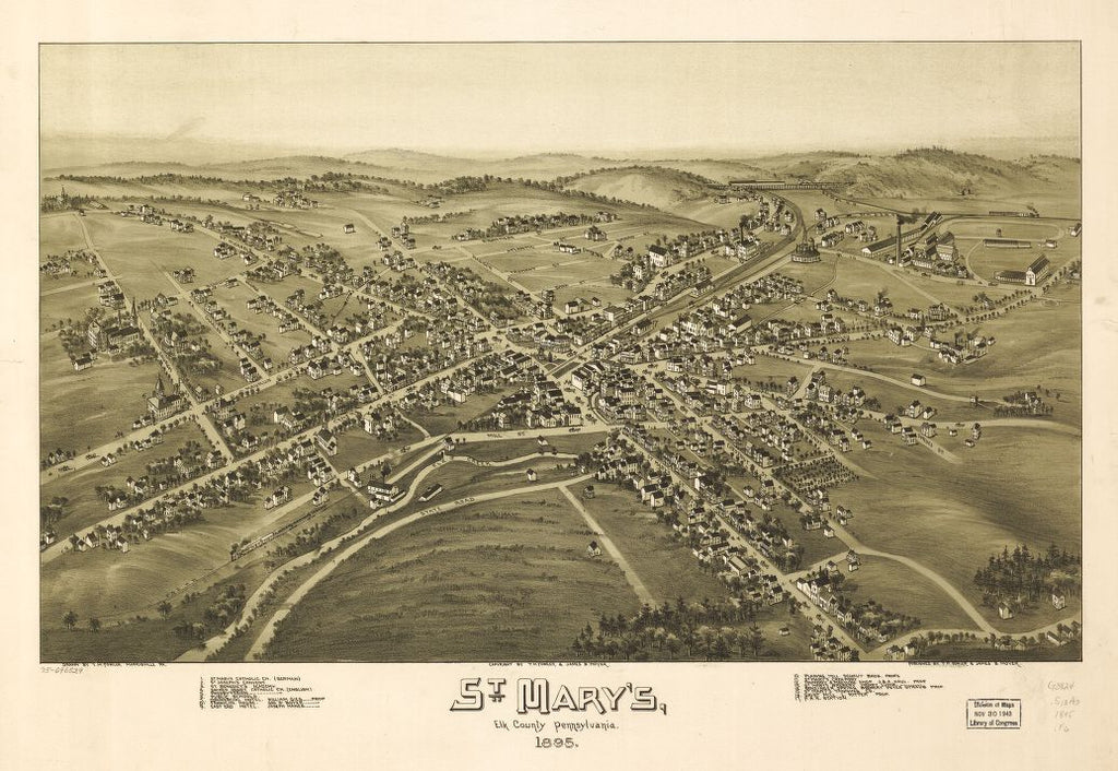 8 x 12 Reproduced Photo of Vintage Old Perspective Birds Eye View Map or Drawing of: St. Mary's, Elk County, Pennsylvania, 1895.   Fowler, T. M. - Moyer, James - Fowler, T. M.  1895
