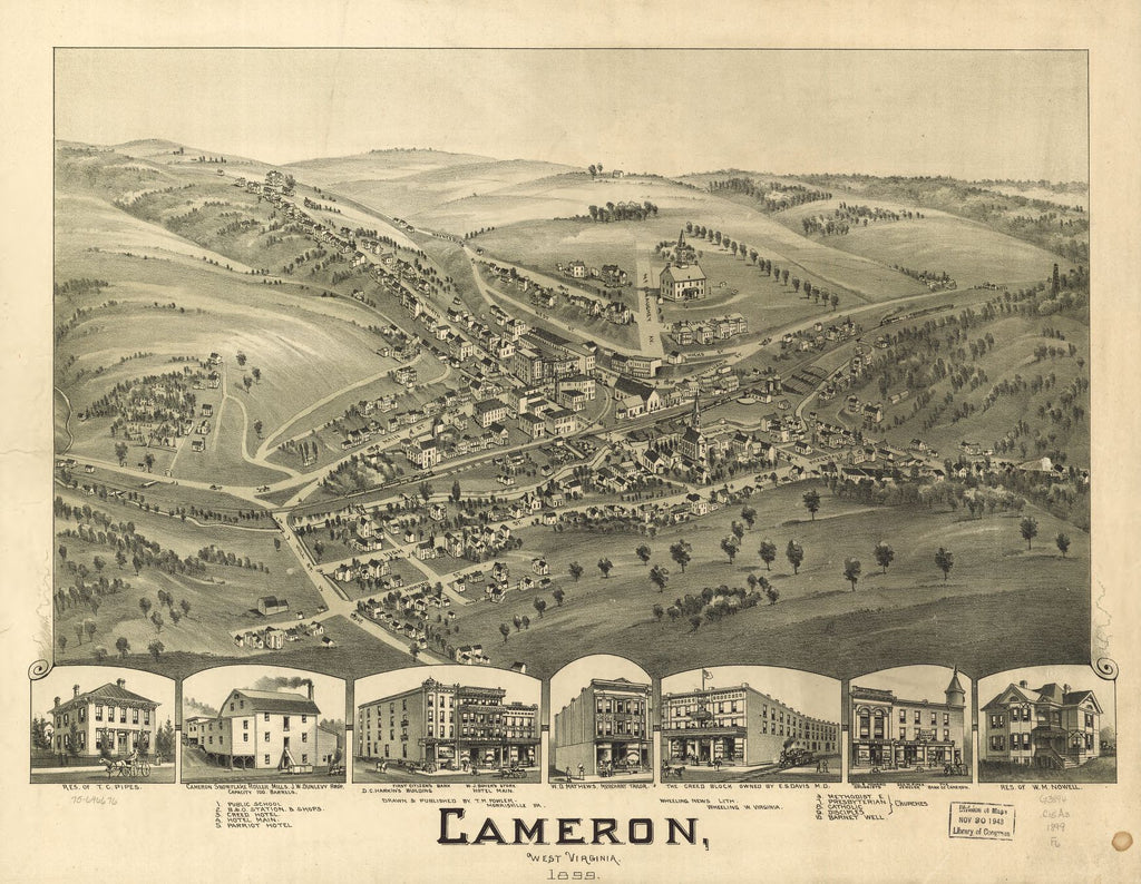 8 x 12 Reproduced Photo of Vintage Old Perspective Birds Eye View Map or Drawing of: Cameron, West Virginia 1899. Fowler, T. M. (Thaddeus Mortimer), 1842-1922.Wheeling News Lith. 1899