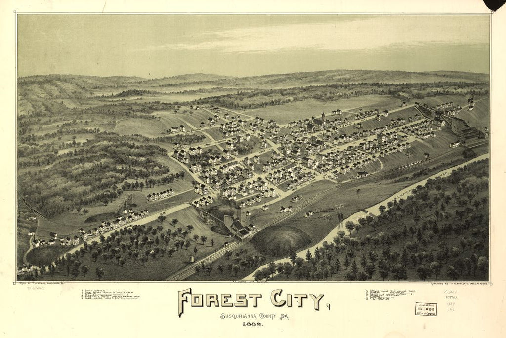 8 x 12 Reproduced Photo of Vintage Old Perspective Birds Eye View Map or Drawing of: Forest City, Susquehanna County, Pa. 1889. Fowler, T. M. - Downs, A. E. (Albert E.) - Moyer, James - Fowler, T. M. 1889