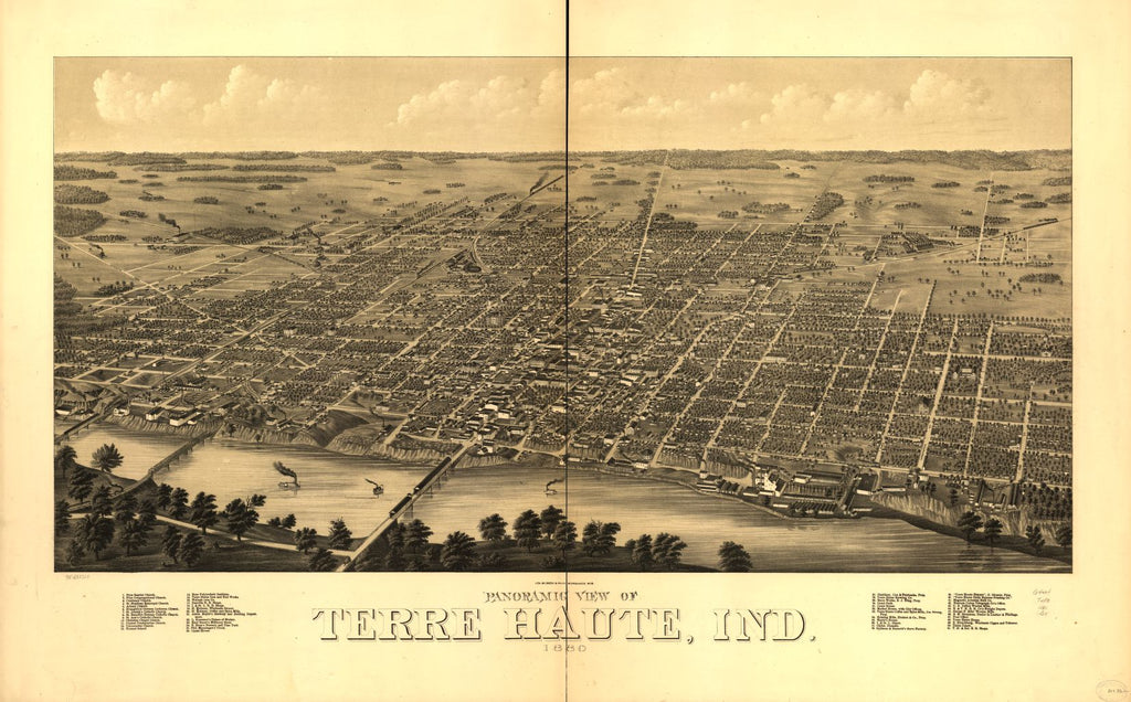 8 x 12 Reproduced Photo of Vintage Old Perspective Birds Eye View Map or Drawing of: Panoramic Terre Haute, Ind. 1880. Beck & Pauli. 1880