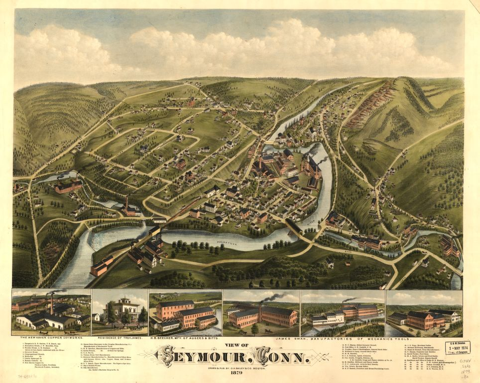 8 x 12 Reproduced Photo of Vintage Old Perspective Birds Eye View Map or Drawing of: Seymour, Conn. 1879.   O.H. Bailey & Co.  1879