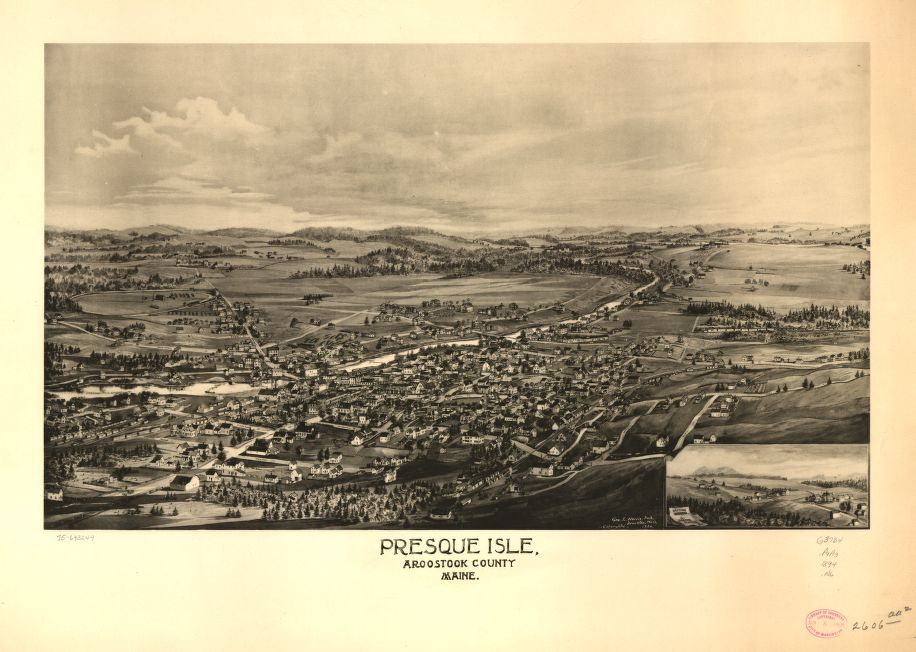8 x 12 Reproduced Photo of Vintage Old Perspective Birds Eye View Map or Drawing of: Presque Isle, Aroostook County, Maine.  Norris, George E.  1894