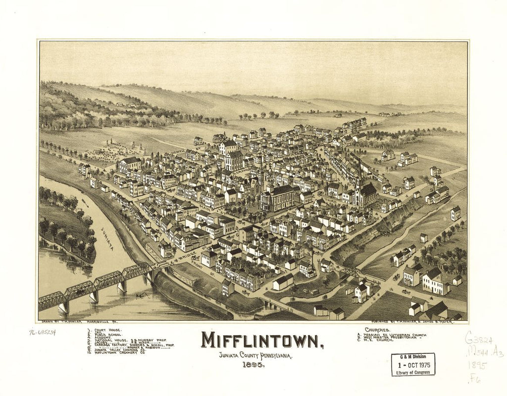 8 x 12 Reproduced Photo of Vintage Old Perspective Birds Eye View Map or Drawing of: Mifflintown, Juniata County, Pennsylvania. Fowler, T. M. - Moyer, James - Fowler, T. M. 1895