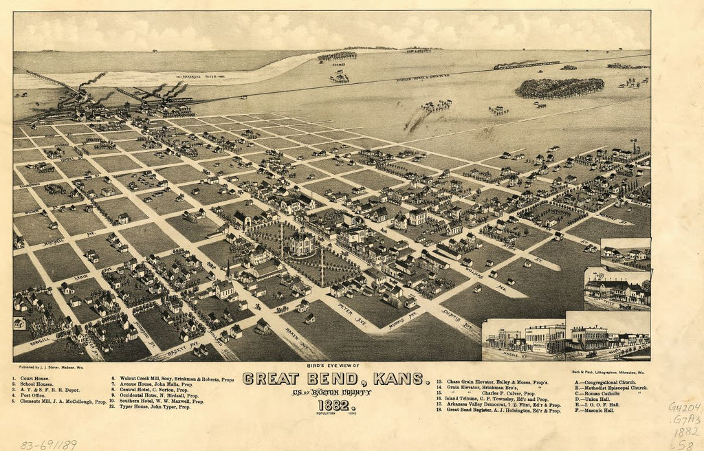 8 x 12 Reproduced Photo of Vintage Old Perspective Birds Eye View Map or Drawing of: Great Bend, Kans. : c.s. of Barton County, 1882. Stoner, J. J. 1882