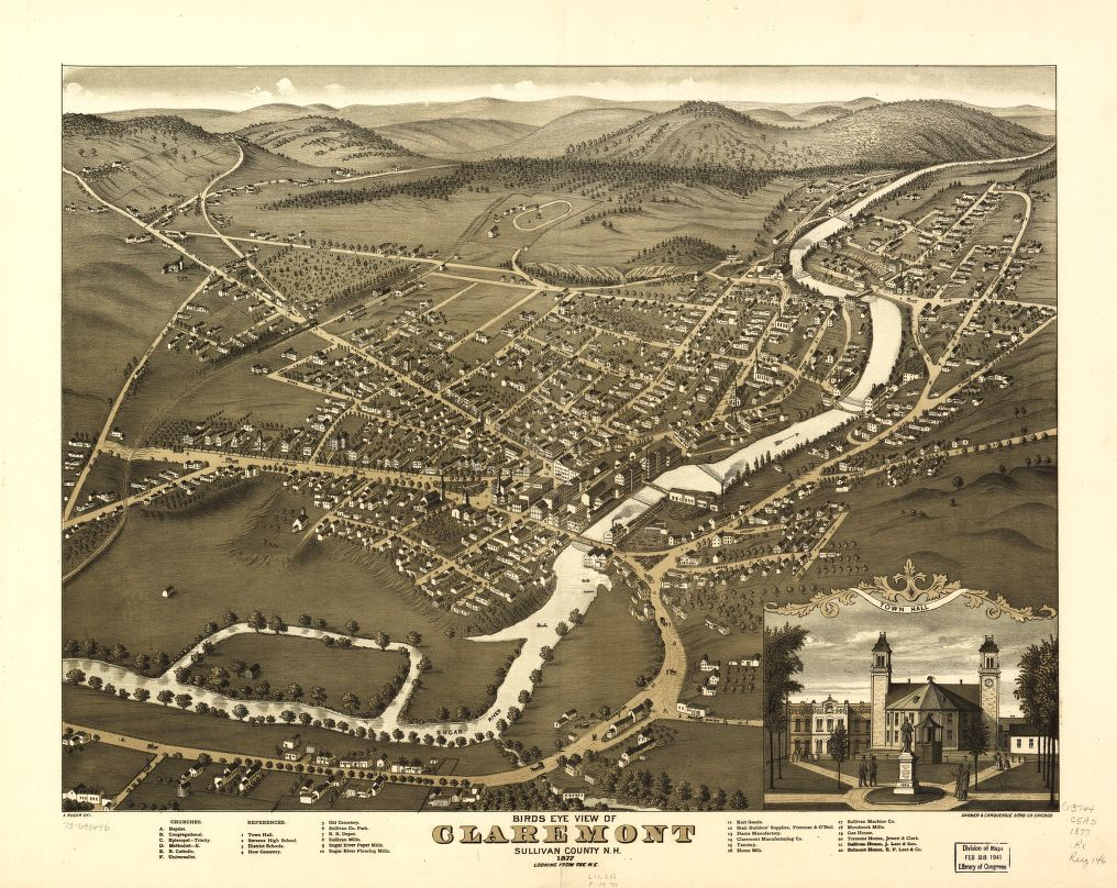 8 x 12 Reproduced Photo of Vintage Old Perspective Birds Eye View Map or Drawing of: Claremont, Sullivan County, N.H. 1877.  Ruger, A. - Shober & Carqueville  1877