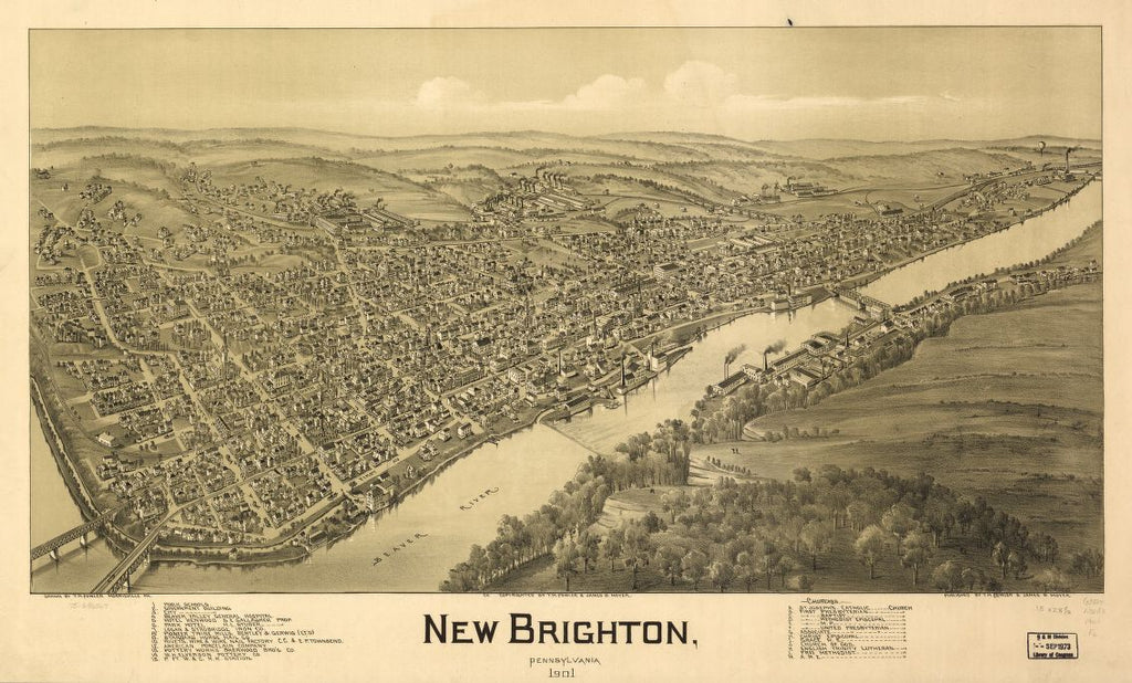 8 x 12 Reproduced Photo of Vintage Old Perspective Birds Eye View Map or Drawing of: New Brighton, Pennsylvania 1901. Fowler, T. M. - Moyer, James - Fowler, T. M. 1901