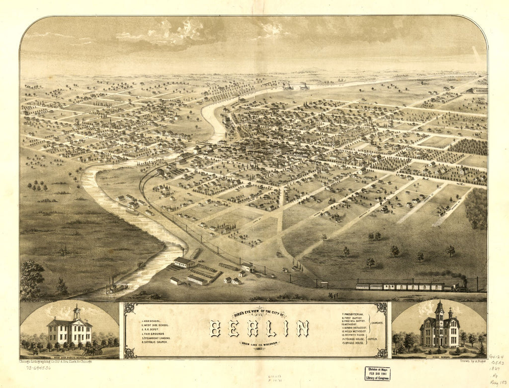 8 x 12 Reproduced Photo of Vintage Old Perspective Birds Eye View Map or Drawing of: Berlin, Green Lake Co., Wisconsin 1867. Ruger, A. 1867